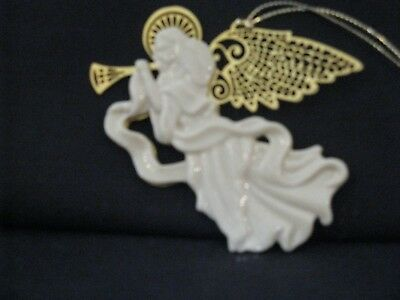 Lenox : Christmas Gold Ornament Collection. ANGEL WITH GOLD WINGS & TRUMPET