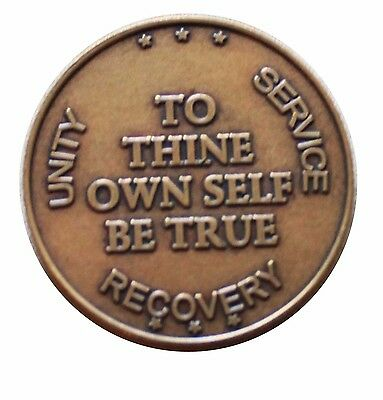 AA ALCOHOLOCS ANONYNOUS BRONZE To Thine Own Self Be True Medallion COIN CHIP NEW