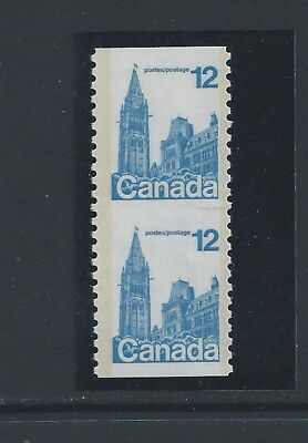 Canada #729a/ii Coil Pair With Trace of Scoreline Variety MNH **Free Shipping**