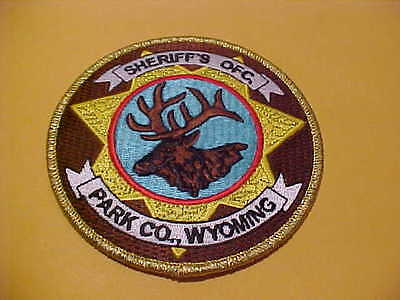 Park County Wyoming  Police Patch **** Free Ship In Usa ***** Gold Wire 4 X4