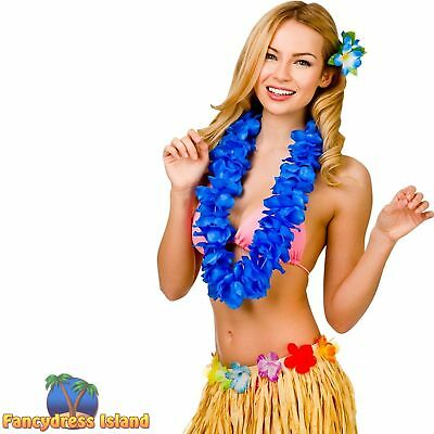 HAWAIIAN HULA GIRL ROYAL BLUE PETAL LEI Adults Ladies Womens Fancy Dress