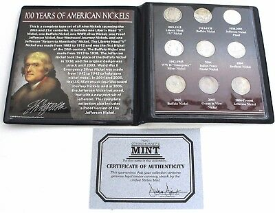 100 Years of American Nickels 1883-2006 A Emergency Silver Nickel And A Proof