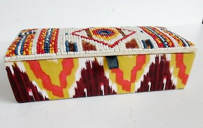 Handmade Beaded Box American Indian Style 21 cm X 9 cm  X 6 Cm
