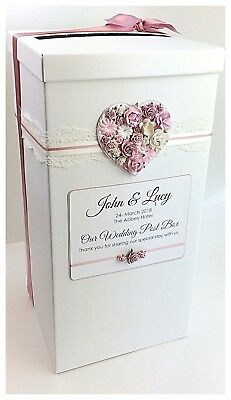 Personalised Wedding Post Box Vintage Lace & Rustic Floral Heart Various Colours