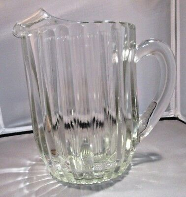 """1920""""s Antique Vintage Clear Pressed Glass Ribbed Pitcher Handle"""