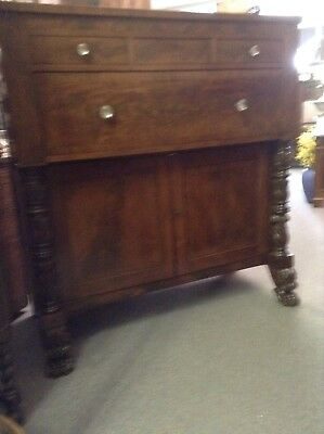 CLASSICAL EMPIRE 1830s CROTCH MAHOGANY SIDEBOARD LINEN PRESS PAW FEET ACANTHUS