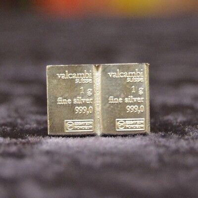 TWO(2) Valcambi Suisse ONE(1) Gram .999 Silver Bullion CombiBar ™