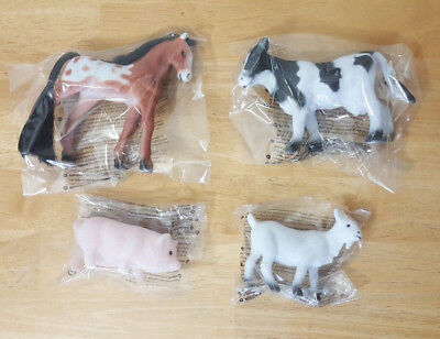 4 Small Flocked Plastic Farm Animals Toys Pony Cow Goat Pig