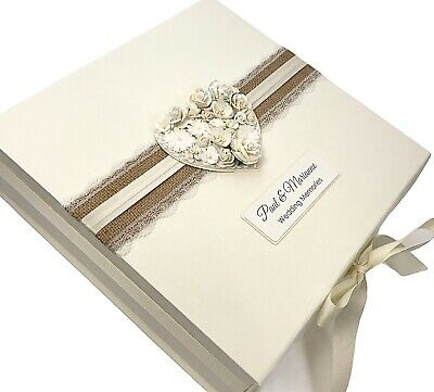 Personalised Wedding Keepsake Box Gift With Hessian Lace & Rustic Floral Heart
