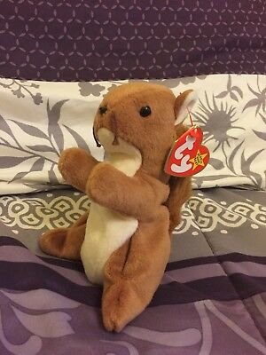 Ty Beanie Baby Nuts - MWMT ERRORS (Squirrel 1996), Teeny Beanie Baby Included