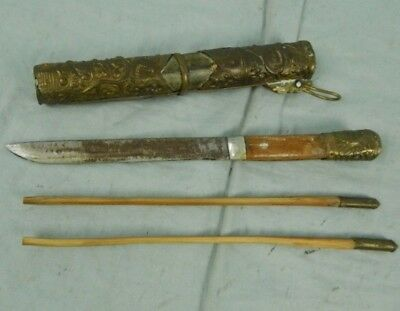 ANTIQUE Trousse Knife & Chopsticks Traveling Set  - Mongolian, Tibetan?