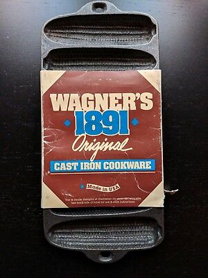 [NEW] Vintage Wagner Ware 1891 Cast Iron Corn Cake Bread Pan Item No.1319