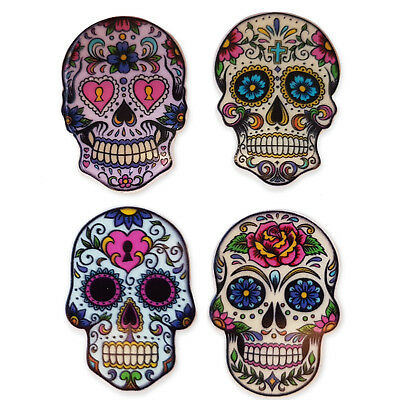 4pcs Sugar Tattoo Skull Acrylic Flatback Cabochons Embellishment Decoden Craft