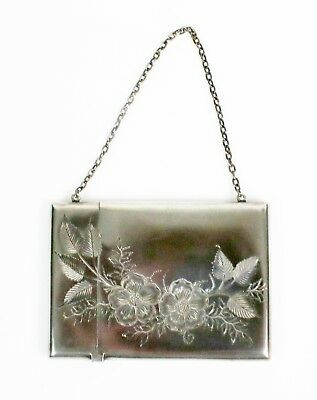 Antique Victorian Sterling Silver Card Carrying Case Holder Pansies Flowers