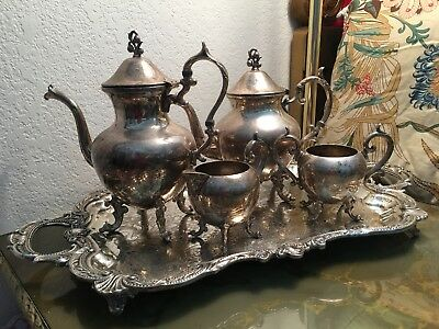 Georgeous Vintage 5 pc Set Birmingham Silver Company Silver On Copper Tea/Coffee