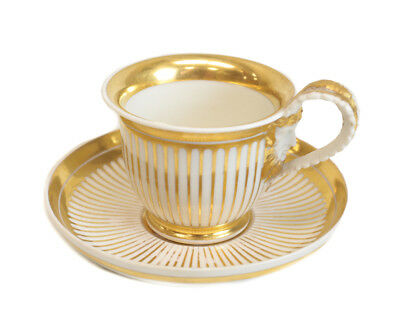 Stunning Royal Vienna Porcelain Gilt Striped Cup & Saucer, Imperial Vienna 1826