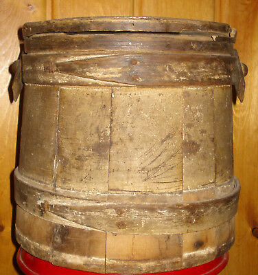 Old Wood Firkin Bucket with Lid  Antique Primitive Butter Sugar Pail Old