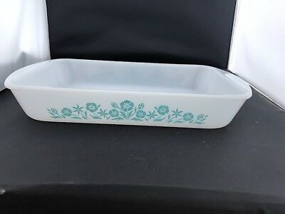 "Vintage Maid of Honor 2.5 qt baking dish bake & serve ware Blue floral 14""x8"""