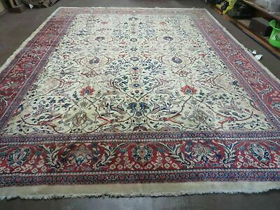 10' X 14' Vintage Hand Knotted Made Persian Sarouk Mahal  Wool Rug Nice IVORY
