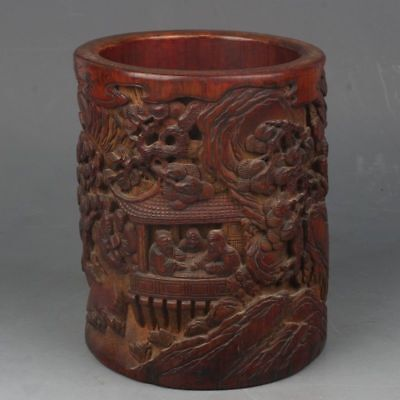 Chinese Exquisite bamboo Hand carved people story Pen holder