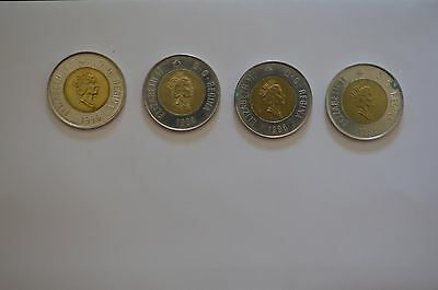 Lot Of 4 1996 Canadian Two Dollar Bear Toonie Coins