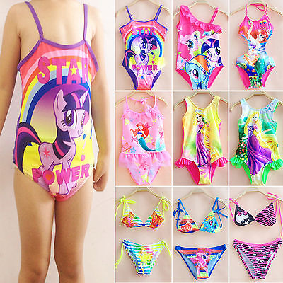 Kids Mermaid My Little Pony Girls Bikini Set One Piece Swimsuit Beach Swimwear