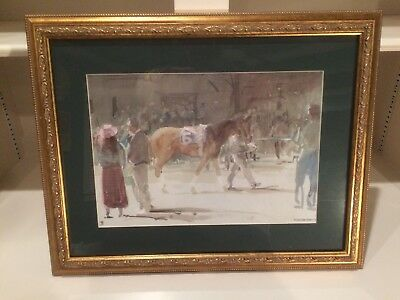 """Keeneland Paddock"" from Cross Gate Gallery- Framed & Matted; Thoroughbreds, NEW"