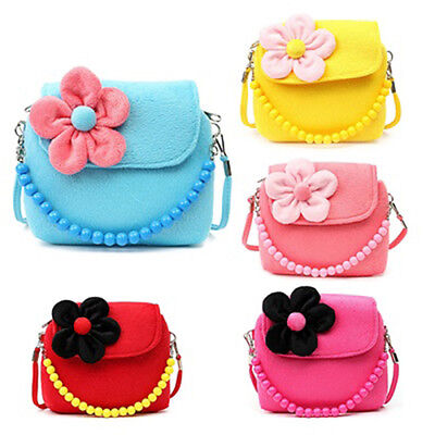 Children Kid Girls Princess Messenger Shoulder Bag Flower Beads Chain Handbag AU