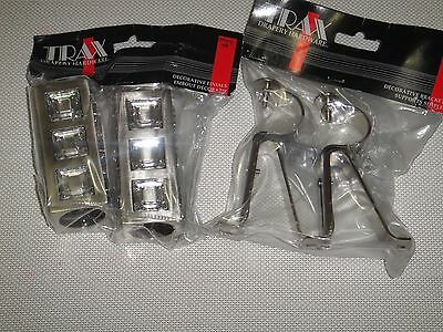 METAL FINIALS WITH CRYSTALS AND BRACKETS SET FITS FOR 1 1/8 [28 mm] DIAM. ROD