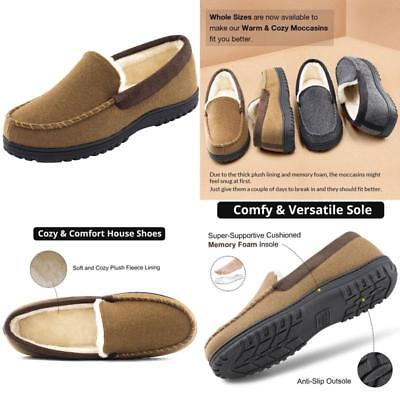 2bf91bba3f Mens Moccasin Slippers Wool Micro Suede Plush Fleece Lined Size 10 House  Shoes