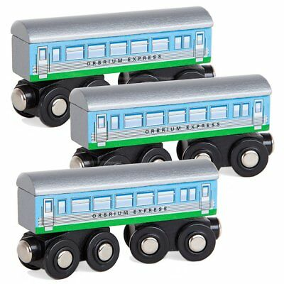 Orbrium Toys 3 Pcs Large Wooden Train Car Express Coach Engine Thomas Brio