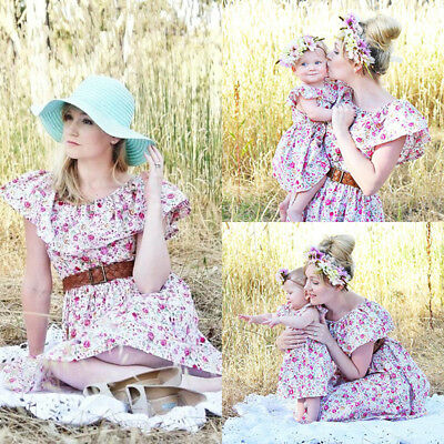 AU Stock Family Match Mother Daughter Women Kids Girls Summer Floral Party Dress