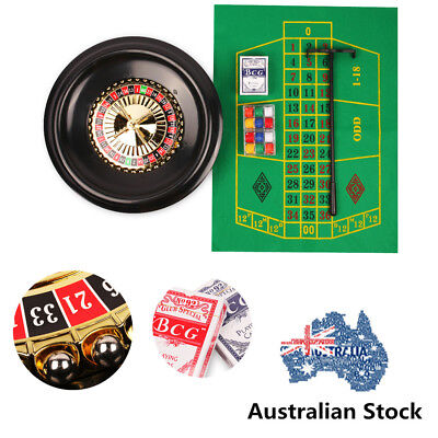 Deluxe Poker 16'' Roulette Wheel Casino Game Table Set Bar BlackJack Rake Layout