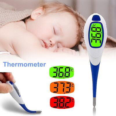 Digital LCD Baby Thermometer Medical Flexible Tip Kids Adult Oral Mouth Underarm