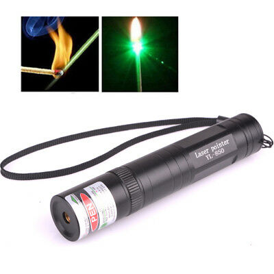 Power 1000-8000 Meters 532nm Single Light Pen Laser Pointer + 16340 Charger