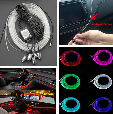 5 IN 1 Car Styling RGB LED Strip Light Interior Kit Ambient Lamp Phone APP 12V