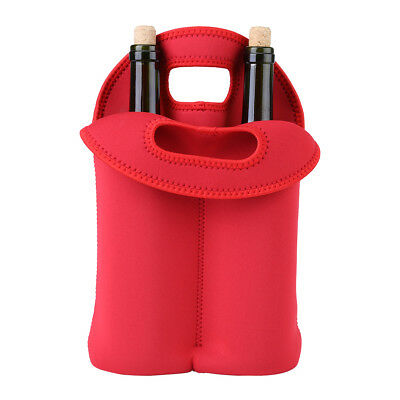 Red Insulated Wine Bag Durable Neoprene Tote Gift Bag 2-Bottle Carrier Cooler DY