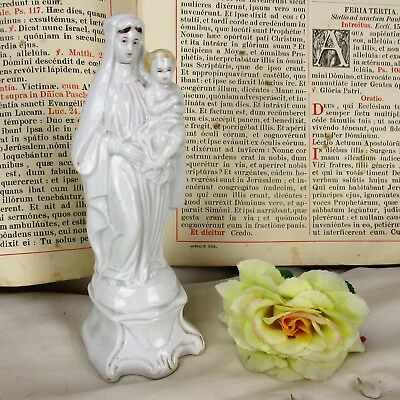 Antique Statue Vieux Paris French Porcelain Virgin Mary Madonna Infant 1900