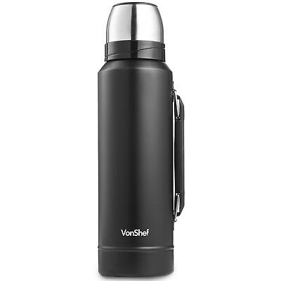 VonShef 1.2L Drink Flask Hot & Cold Drinks Insulated Thermos Pod with Cup -Black