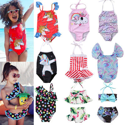 USA Infant Kid Baby Girl Unicorn BIkini Set Swimwear Swimsuit Bathing Suit Beach