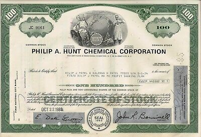 Philip A. Hunt Chemical Corporation, 1981 (100 Shares)