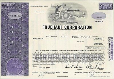 Fruehauf Corporation, Michigan, 1974 (1 Share)
