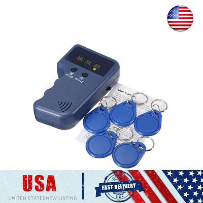 US Portable 125KHz Handheld RFID ID Card Copier/ Reader/Writer with 5 x Keychain