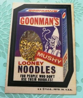 Wacky Packages Card Goonmans Looney Noodles 1970s VTG Tan Back