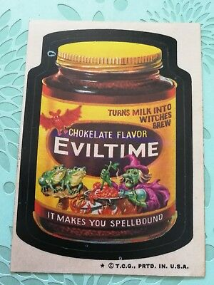 Wacky Packages Card Chokelate Flavor Eviltime VTG Tan Back
