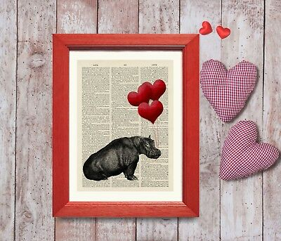 Old Antique Book page Art Print - Beautiful Vintage Hippo Heart Balloons