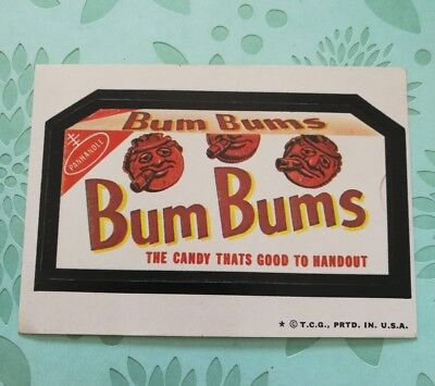 Wacky Packages Card Bum Bums Candy That's Too Good To Handout VTG Tan Back