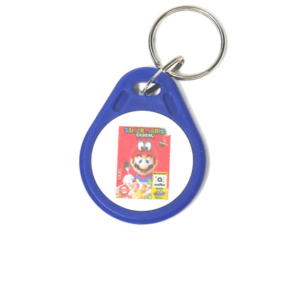 Super Mario Cereal Amiibo Compatible Key Fob Tag: works just like the cereal box