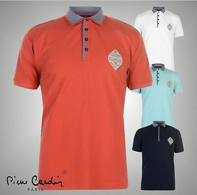 Mens Designer Pierre Cardin Casual Short Sleeves Contrast Polo Shirt Size S-XXL