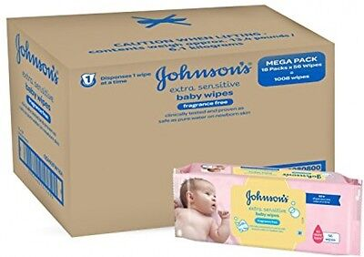 Johnsons Baby Extra Sensitive Fragrance Free Wipes - Pack of 18 x 56 Sheets NEW